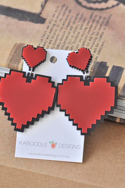 Acrylic Perspex Laser Cut Red Love Heart Drop Earrings