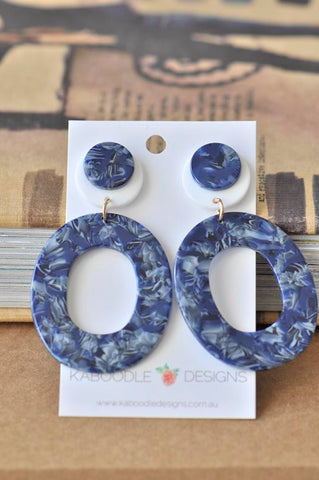 Acrylic Perspex Geometric Drop Earrings - Navy Blue