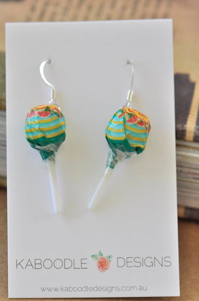 Miniature 3D Candy Lolly Chupa Chups Lollipop Dangle Earrings - Watermelon