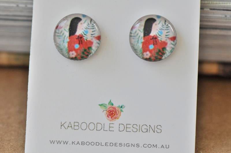 Handmade Artwork Tropical Flowers and Girl Stud Earrings - ER416