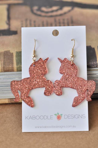 Acrylic Perspex Laser Cut Glitter Unicorn Drop Earrings