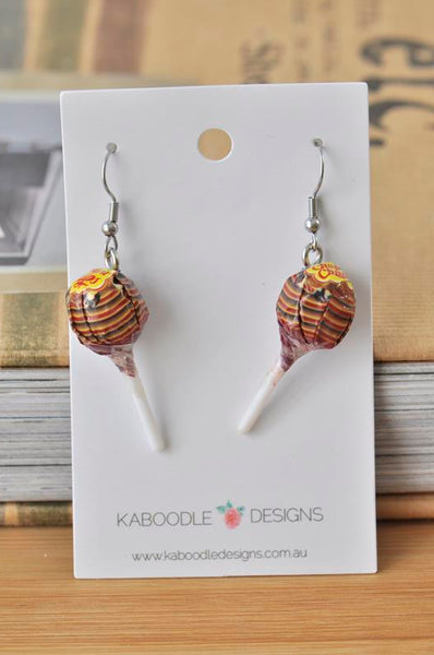 Miniature 3D Candy Lolly Chupa Chups Lollipop Dangle Earrings - Maroon