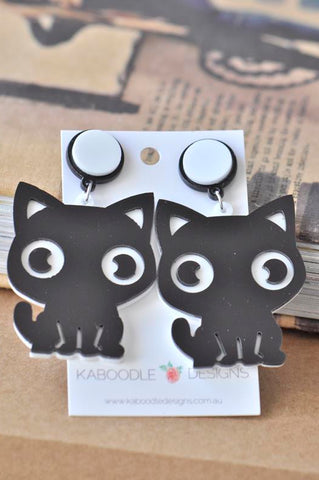 Acrylic Perspex Laser Cut Kitten Cat Drop Earrings - Black