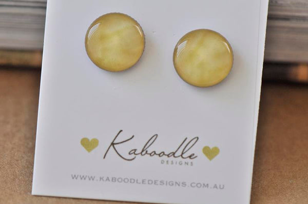 Handmade Artwork Sunshine Yellow Stud Earrings - ER421