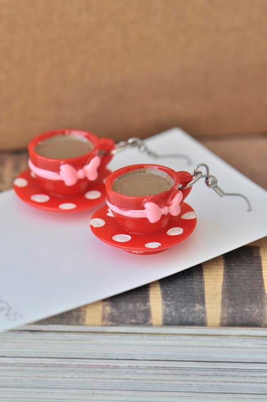 Miniature 3D Red Polkadot and Bow Teacup Coffee Tea Dangle Earrings
