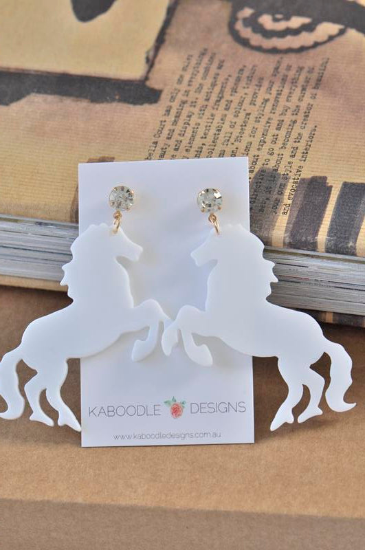 Acrylic Perspex Laser Cut Clear Horse Drop Earrings - White