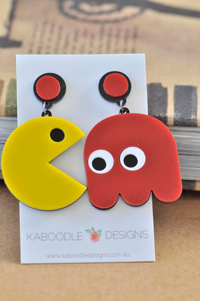 Acrylic Perspex Retro Pac Man Pacman Drop Earrings
