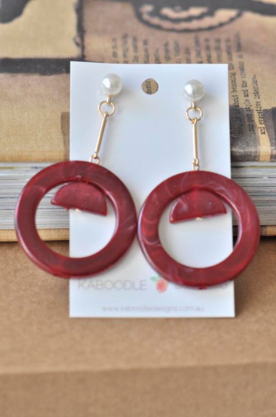 Acrylic Perspex Maroon with Faux Pearl Geometric Drop Earrings
