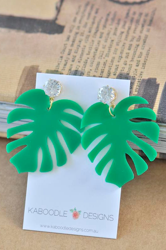 Acrylic Perspex Laser Cut Monstera Leaf Rhinestone Drop Earrings
