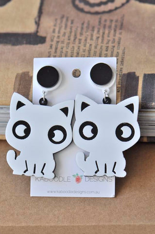 Acrylic Perspex Laser Cut Kitten Cat Drop Earrings - White