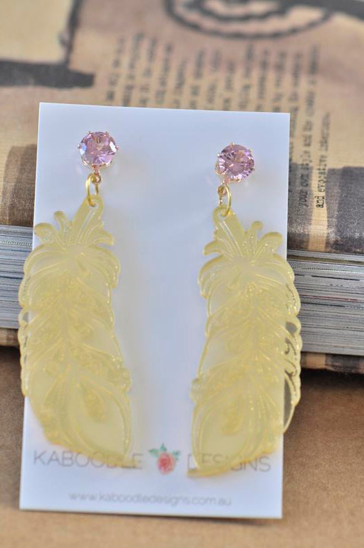 Acrylic Perspex Laser Cut Gold Leaf with Rhinestone Drop Earrings