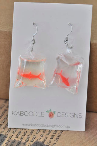 A Novelty Resin Goldfish Bag Dangle Earrings