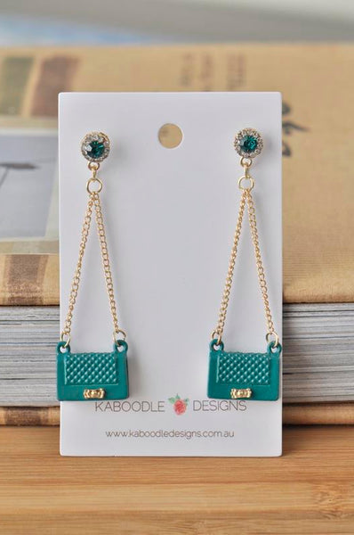 Luxury Handbag Novelty Fun Drop Dangle Earrings - Emerald Green