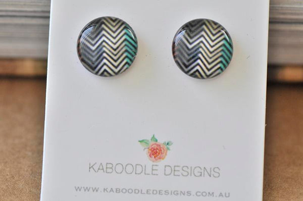 Handmade Artwork Chevron Earrings - ER506