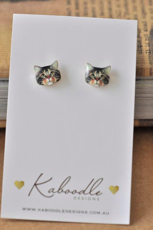 Cat Face Enamel Stud Earrings - Brown
