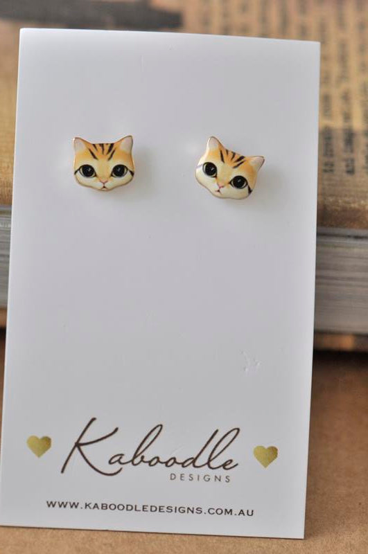 Cat Face Enamel Stud Earrings - Ginger