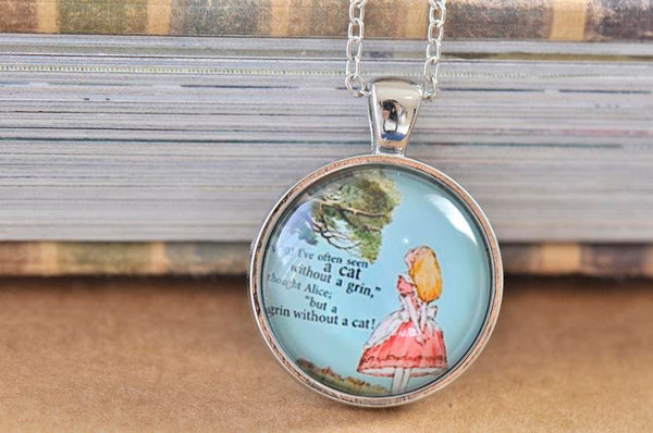 Handmade 25mm Glass Pendant Necklace - Alice In Wonderland and Cheshire Cat