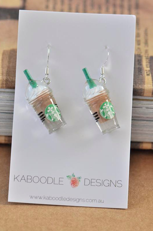 Miniature 3D Drink Coffee Mocha Chocolate Frappe Dangle Earrings