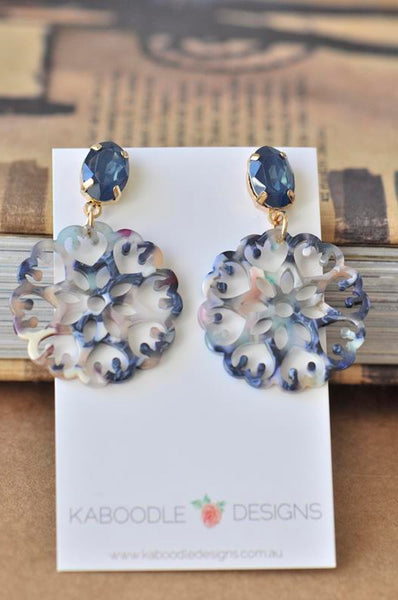Acrylic Perspex Laser Cut Geometric Round Filigree Drop Earrings - Blue