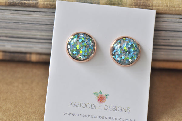 Resin Glitter Rose Gold Stud Earrings - Blue