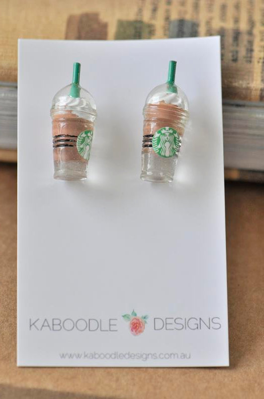 Miniature 3D Drink Coffee Mocha Chocolate Frappe Stud Earrings