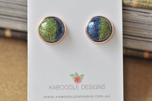 Resin Glitter Rose Gold Stud Earrings - Blue Green