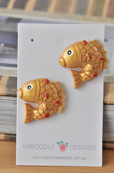 Lucky Goldfish Resin Stud Earrings