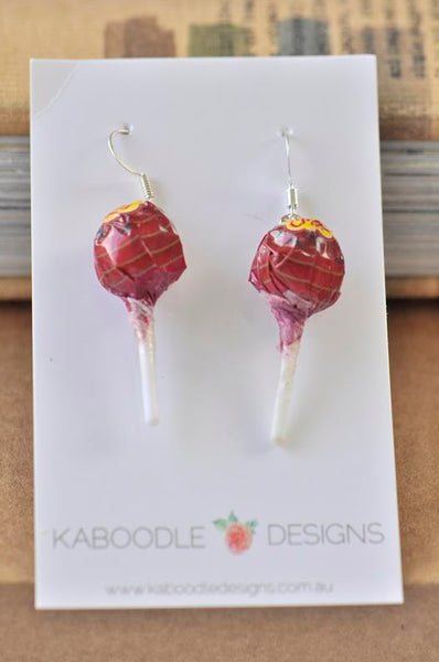Miniature 3D Candy Lolly Chupa Chups Lollipop Dangle Earrings - Strawberry