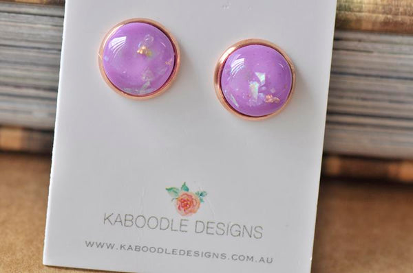 Resin Gold Foil Rose Gold Stud Earrings - Purple