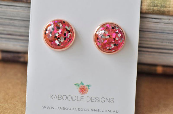 Resin Glitter Rose Gold Stud Earrings - Red Pink