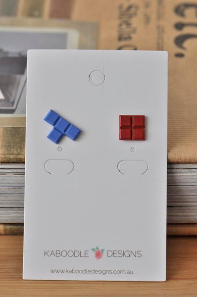 Retro Nostalgic Tetris Brick Game Stud Earrings - Blue and Red