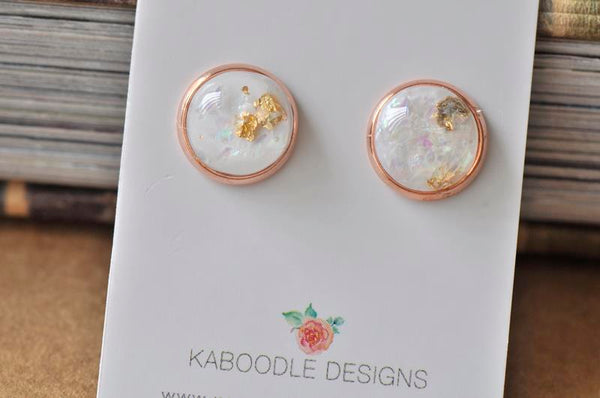 Resin Gold Foil Rose Gold Stud Earrings - White