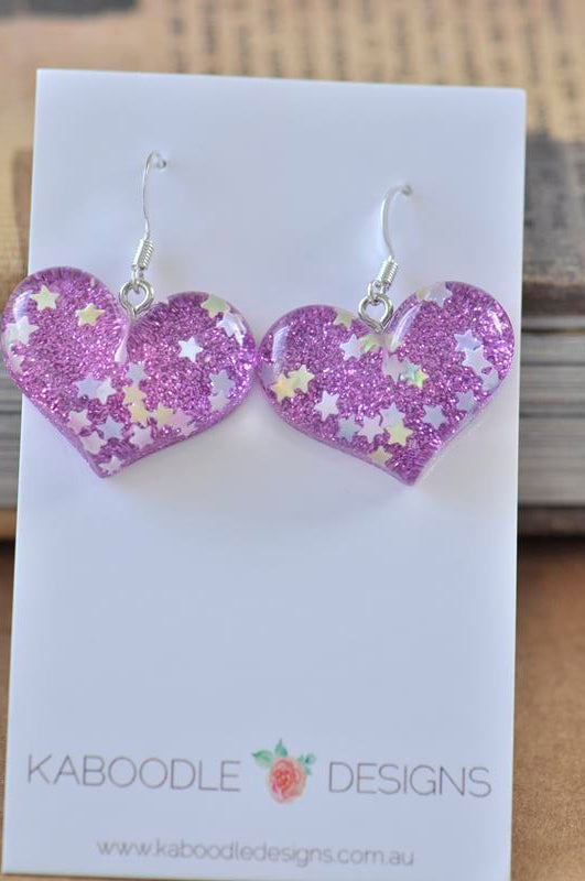 Resin Glitter Heart Danlge Earrings - Purple