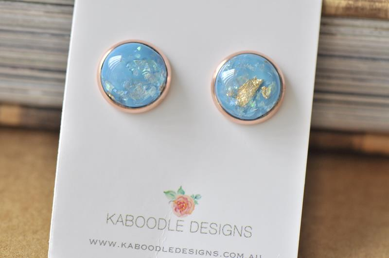 Resin Gold Foil Rose Gold Stud Earrings - Blue