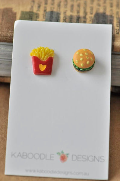 Miniature Food Hamburger and Fries Stud Earrings
