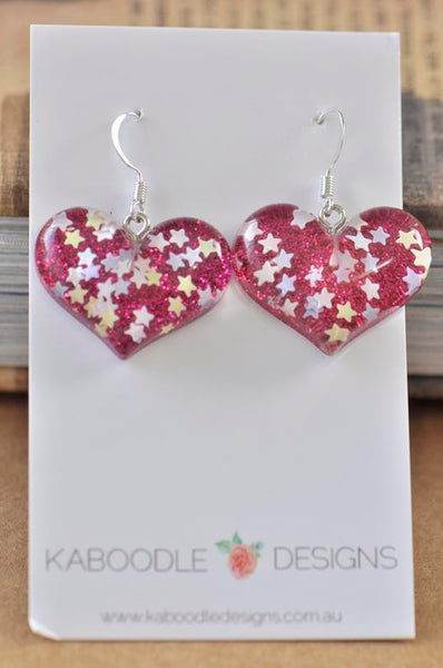 Resin Glitter Heart Danlge Earrings - Hot Pink