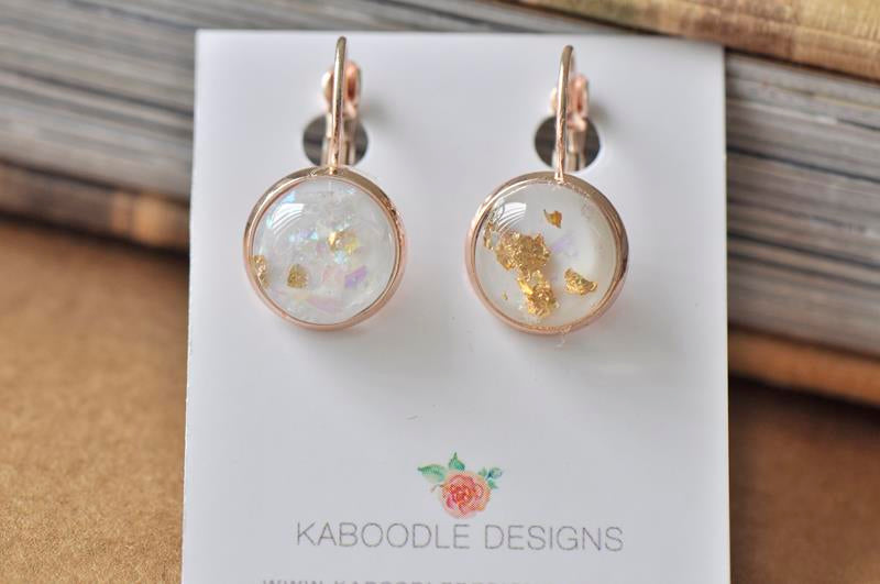 Resin Round Clip Dangle Gold Foil Earrings - White