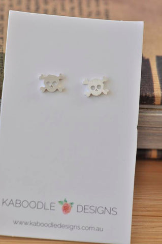Silver - Stainless Steel Skull Mini Dainty Minimalist Stud Earrings