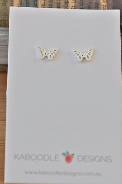 Silver - Stainless Steel Butterfly Cutout Mini Dainty Minimalist Stud Earrings