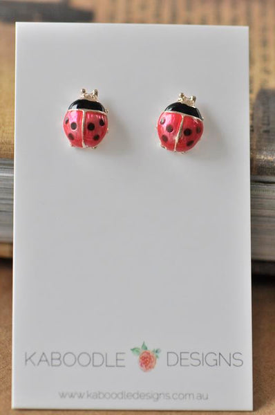 Ladybird Beetle Enamel Stud Earrings