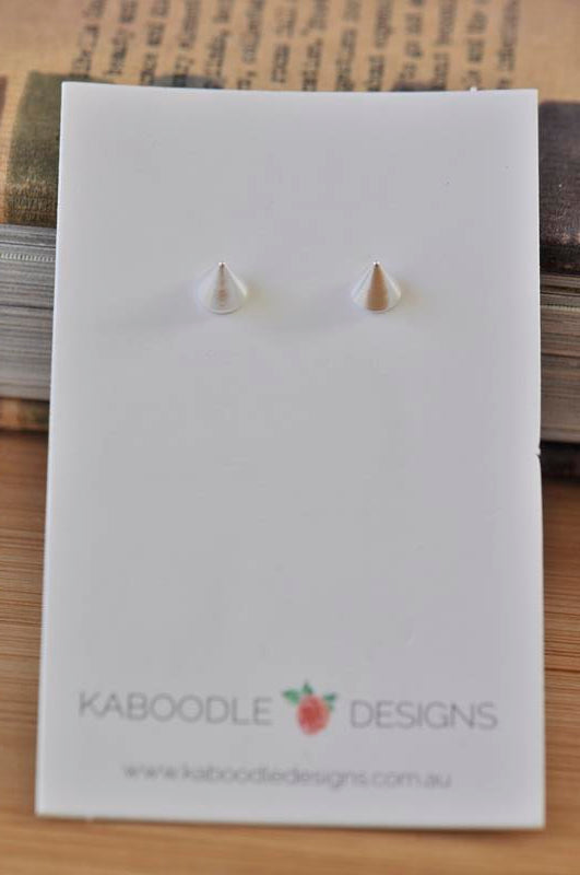 Silver - Stainless Steel Point Cutout Mini Dainty Minimalist Stud Earrings