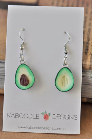 Avocado Polymer Clay Fruit Drop Earrings
