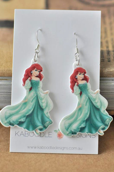 Mermaid Princess Acrylic Dangle Earrings