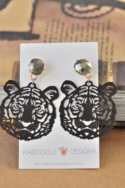 Lion Cutout Black Silhouette Rhinestone Drop Earrings