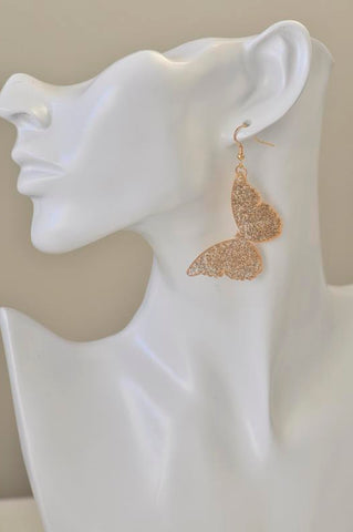 Acrylic Perspex Glitter Gold Butterfly Drop Earrings