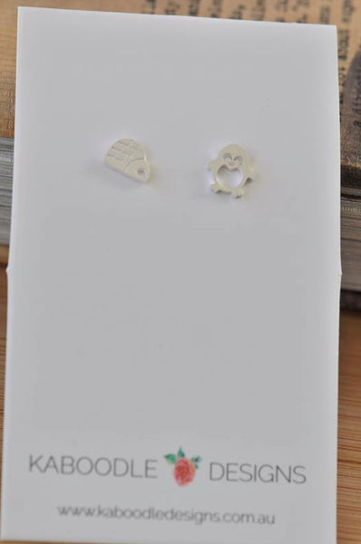 Silver - Stainless Steel Penguin and Igloo Cutout Mini Dainty Minimalist Stud Earrings