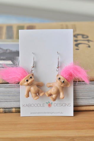 A Novelty Fun Retro Trolls Dangle Drop Earrings - Pink