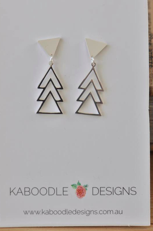 Silver - Stainless Steel Geometric Triangle Mini Dainty Minimalist Stud Drop Earrings