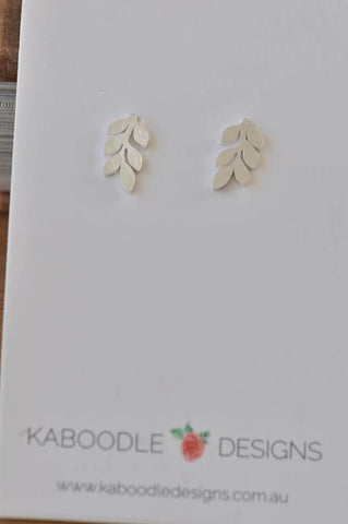 Silver - Stainless Steel Leaf Cutout Mini Dainty Minimalist Stud Earrings