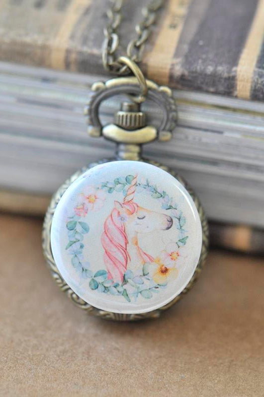 Handmade Artwork Stainless Steel Pocket Watch Necklace - Boho Unicorn